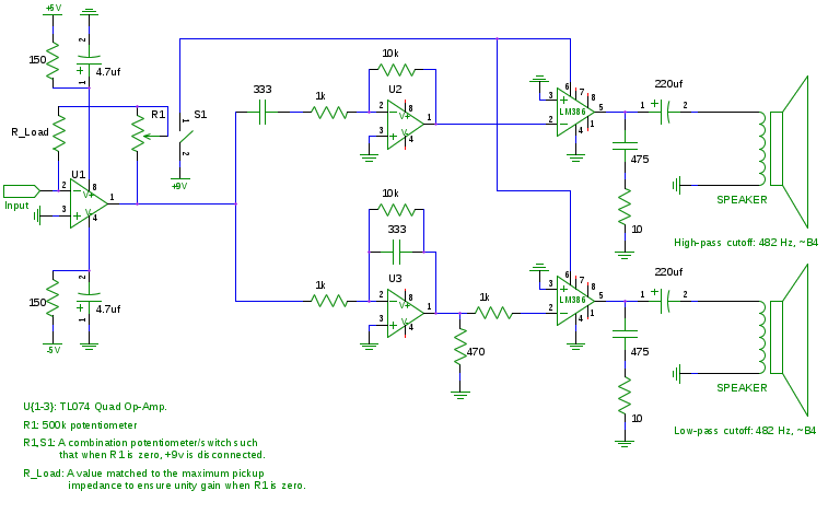 An equalization circuit employing a TL074 and two LM386 ICs