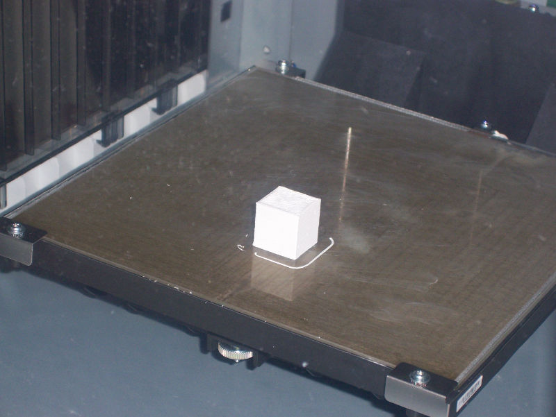 A printed cube in the dimensions specified, after printer calibration