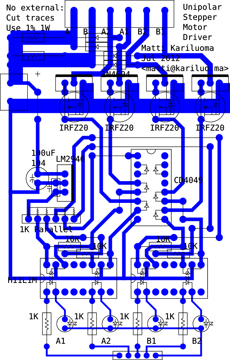 Schematic of the unipolar optoisolated stepper driver
